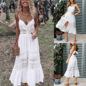 Fashion Women Boho Long Maxi Dress Summer Sexy Ladies White Beach Evening Party Sundress Sleeveless Sling V Neck Dresses
