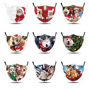 Yetişkinler Ayarlanabilir Koruyucu Maskeler için Noel Yüz Maskeleri 3D Baskılı Hayvan Köpekler Kediler Anti Toz sis Yıkanabilir Noel facemasks