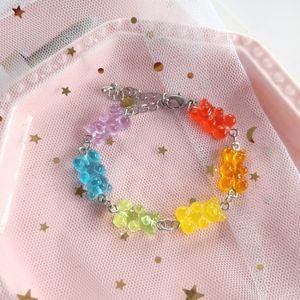 Arco-íris Multicolor Transparente Urso Pulseira Candy Cor Ressin Gummy Pingente Pulseira Mulheres Bonito Engraçado Doce Jóias BFF Presente