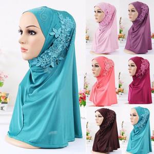2019 NEW Women's Muslim stretch headband cap makeup cap lace solid color headscarf 4.111
