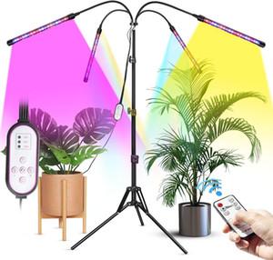 4 cabeza LED Cultive la luz con el soporte del trípode para las plantas de interior El piso de espectro completo crece la lámpara con los controladores duales 4/8/12H Temporizador