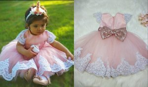 2021 Elegant Blush Toddler Flowers Flower Girls Dresses Ribbon with Short Sleeves White Lace Kids Pageant Prom Formal First Communion Dress
