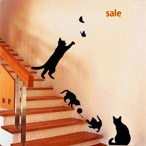 Оптовая продажа новых горячей продажи 4 милые кошки играют на стены наклейки детская комната украшения DIY Home Decals1