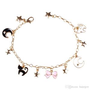 Japenese Sailor Moon Yıldız Ay Bilezikler Sevimli Siyah Kediler Pembe Sakura Çiçek Charms Bilezik İçin Çocuk Kadınlar