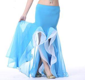 Sahne Giyim Bollywood Dans Kostüm Göbek Fishtail Maxi Etek 2 Katman