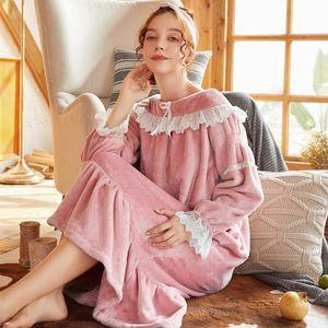 Wasteheart Kış Kadın Moda Pembe Mavi Seksi Pijama Gecelik Dantel Gecelikler Sleepshirt Nightgown Pijama Lüks Flannel1