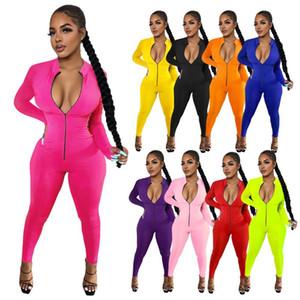 Frauen Solid Color beiläufige dünne Reißverschluss-Overall-Spielanzug Slim Fit Female Fashion Kleidung Plus Size Jumpsuits