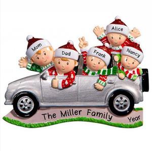 2020 Noel Küçük Araba kolye DIY Adı Benediction Süsleme Aile 2-6 Xmas ağacı Kolye Parti Dekorasyon LJJP665 Asma arasında