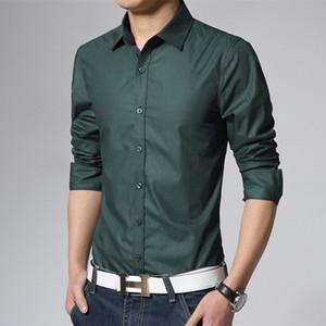 Left ROM 2019 sofisticado algodão de algodão puro cor es homens moda casual manga comprida mens business camisas