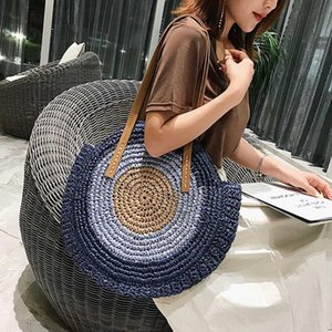 Women Round Straw Handbags Beach Bag Vintage Handmade Woven Bag Circle Rattan Bags Bohemian Vacation Casual Bags #T3G