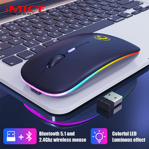 iMice RGB recarregável Bluetooth Wireless Mouse Silencioso USB ergonómico luz mouse Gaming Optical PC Mouse para Laptop LED retroiluminado 201023