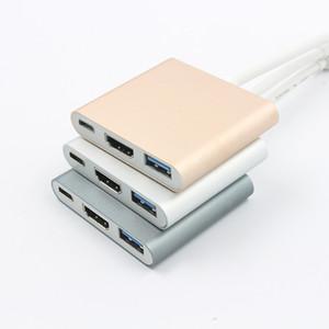 HDMI C نوع-C إلى USB 3.1 محول 3-IN-1 كبل محور 1080P 4K HD محول للهاتف اللوحي المحمول TV PC مراقب