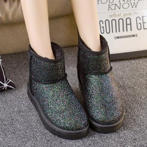 Winter Woman Snow Boots Ankle Boots Sequins Bling Shinning Solid Platform Slip On Women Flats Casual Flock Fur Women Warm Shoes