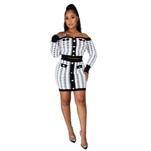 Fashion Printed Womens Two Piece Dresses Casual Slash Neck Designer Womens Two Piece Sets with Button Womens Clothing