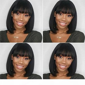 Intalian Yaki Short Bob Human Hair Wig For Afro American Woman Gluless Full Lace Human Hair Short Straight Wig with Full Bangs Peruvian Hair
