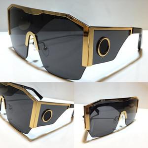 새로운 2220 선글라스 남성을위한 패션 전체 프레임 UV400 자외선 보호 렌즈 Steampunk 여름 정사각형 반 상단 금속 프레임 스타일 Comw