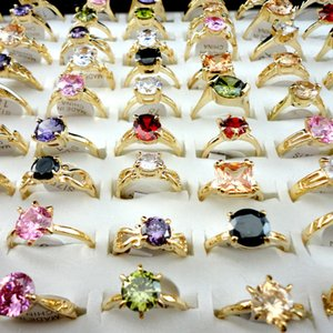Zirkon Band Ring Frauen Ornamente Vergoldet Modeschmuck Zubehör Ringe Multi Color Mix Lose 2 47YD G2B