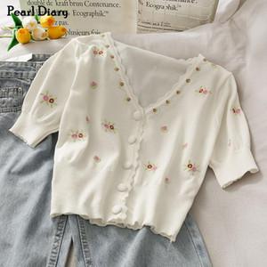 Pearl Diary Knit Crop Кардиган белый цвет цветочные вышивки Кардиган рубашки V шеи спереди Кнопка Top Puff рукавом Vintage Tops