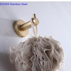 رداء هوك SUS304 الفولاذ المقاوم للصدأ الملابس خطاف اكسسوارات الحمام الحائط هوك ناعم الذهب منشفة الحمام خطاف u06o #
