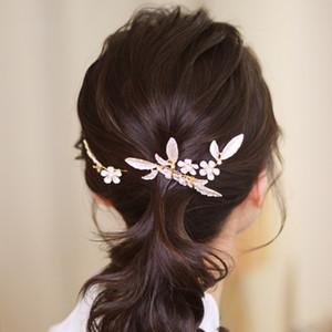 3 pics Korean Brides gold Head Flower sweet Hair combs Female Hair Pin for women Wedding Bride Pearl Handmade g Hair Accessory W1224