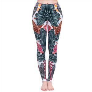Fashion Women Legging Cool Leaves Printing leggins High Waist Punk Leggings Workou Legins Slim Fitness Pants