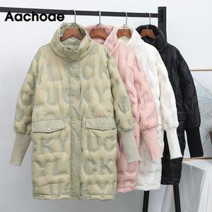 AACHOAE Katı Kalın Sıcak Kış Beyaz Aşağı Ceket Kadın Standı Yaka Rahat Kirpi Ceket Cebi Fener Kollu Lady Coat Doutoune