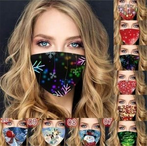 face mask 2020 Christmas printed fashion face masks dust dustproof haze men women washable breathable black red facemask in stock