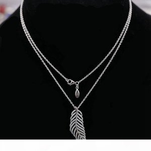 Flashing Light Feather CZ Diamond Necklace for Designer 925 Sterling Silver High Quality Ladies Pendant Necklace with Original Box