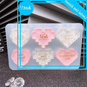 8-pixel love DIY crystal gutta percha silicone Keychain heart-shaped Candle mold
