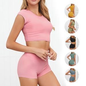Two sets of Yoga suits, two sets of Yoga suits, one set of sexy Training Gym yoga clothes, high sleeve short sleeve sports shorts, women's f