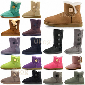 2021 Diseñadores Botas Australianas Mini Bailey Ankle II Botón recto Snow Womans Peluche para mujer Lady Winter Knee FPW0R #