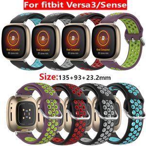 Braccialetto cinghia colore doppio in silicone per Fitbit Versa 3 / Versa Senso Sport elastico della cinghia del polso