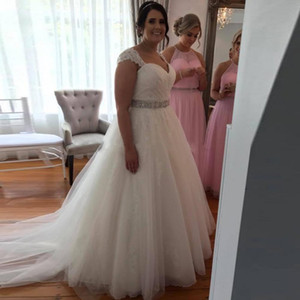 New Arrivals Plus Size Crystal Sweetheart Wedding Dresses Lace Appliques A Line Long Dress Bridal Gowns Formal Vestido de noiva L107