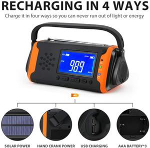 Гуанчжоу Juropin Для погоды Портативный AM / FM радио с NOAA 4000mAh Power Bank Solar Яркий фонарик