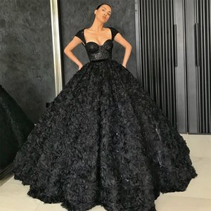Black Ball Gown Prom Dresses 2021 3D Rose Flowers Sequins Lace Top Dubai Party Gowns Black Girl Quinceanera Dress