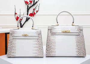 Jacaré mulheres padrão bolsa Boarding bolsas de pacotes 28cm PU grande capacidade de moda série H totes estilo FRA saco bolsa