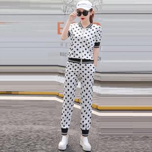 White Women Tracksuits 2021 New Summer Fashion Elegant Polka Dot Pant Suit Piece Set Runway Shirt Pants Sets Women