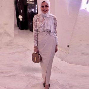 Aso Ebi Slit Muslim Evening Dresses Long Sleeves Illusion Scarf robe soiree Party Gowns Islamic Dubai Kaftan Saudi Arabic Prom Dresses V4