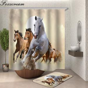 Cheval rideau de douche avec tissu crochets animaux 3d salle de bain douche rideaux salle de bain rideau crochets imperméable rideau ou un tapis