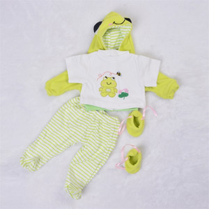 Fashion 55-57 cm Babies Clothes For Baby Boy Suit 22-23 Inch Reborn Dolls Real Like Frog Prince 4 pcs Coat Pants Shirt Socks Y201009