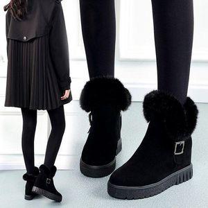 New Winter Pele Wild Botas Botas Curtas Mat Scrub Plus Velvet Neve Quente Mulheres Tube Aumentar Cottonshoes Itcbn