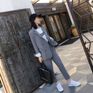 Work Fashion Pant Suits 2 Piece Set for Women Jacket & Trouser Office Lady Slim Casual Fashion Suit Spring summer