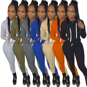 Women hooded jacket pants outfits two pieces set sportswear s-2xl solid color zipper sweatshirt Leggings tracksuits Fall Winter clothing3990