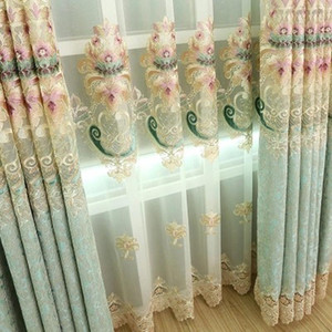European Style Curtains for Living Dining Room Bedroom Modern Embroidery Printed Curtains Tulle Finished Product Customization