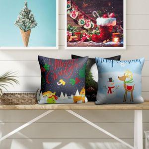Nanacoba Christmas Snowman Print Pillow Case Xmas Style Gift Cushion Cover for Home Sofa Chair Decorative Short Plush Pillowcase