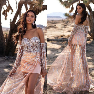 2021 Champagne Gold Evening Dresses Long Sleeves Sparkly Silver Sequins High Split Sweetheart Neckline vestido Sweep Train Prom Party Gown