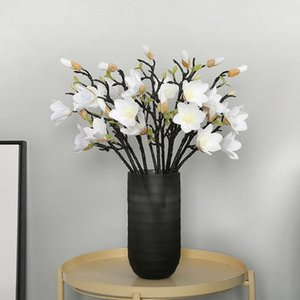 Wedding Bouquet Coffee House Home Decor Simulazione Magnolia artificiale Fiore di Magnolia falsificazione fiore 53 centimetri ornamento festivo RTRP #