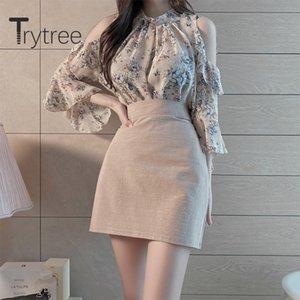 Trytree verano mujeres de dos piezas del soporte de impresión Casual Cuello top de la blusa + falda mini una línea de cintura alta Conjunto 2 piezas Conjunto 201007