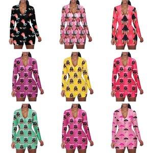 Kadınlar Jumpsuit WAP Mektupları Şemsiye Baskılı Uzun Kollu Şort Romper V Yaka Ev Tulumlar Caroon Casual Siyam Pantolon S-XXL D102304