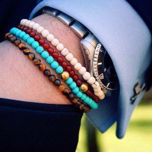 Mcllroy Bracelets Men 4mm Tiger Eye Natural Stone Elastic Rope Chain Strand Bracelet White & Blue Stones Drop shipping